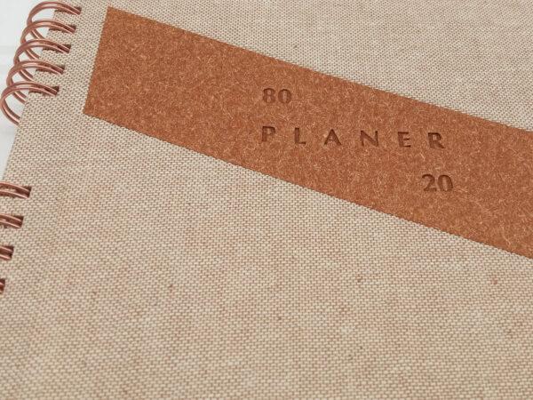 Planer bezterminowy 80/20 spirala - len brązowy tłoczenie