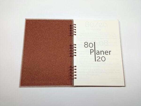 Planer bezterminowy 80/20 spirala - len brązowy otwarty