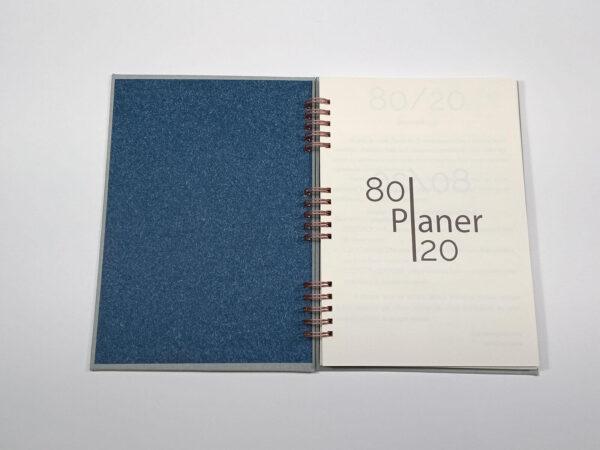 Planer bezterminowy 80/20 spirala - szary otawrty
